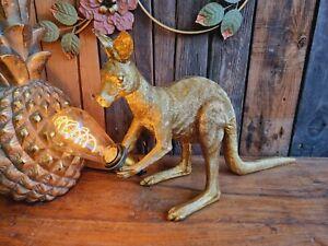 Edle Design Tischlampe Känguru 51cm Gold Leuchte Deko Tisch Tier Australien