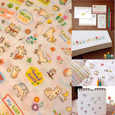 Cute Lovely 6 Sheet Cat Paper Stickers for Diary Scrapbook Calendar Decor