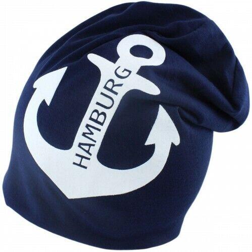 Beanie Mütze Blau DAMEN HERREN Anker Baumwolle Long Jersey Strickmütze Cap 23