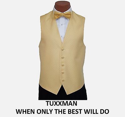 Beautiful Gold Diamond After Six Tuxedo vest Long Tie Bow tie All Sizes TUXXMAN