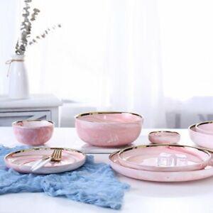 Dinnerware-Pink-Marble-Ceramic-Rice-Salad-Noodles-Bowl-Tableware-Kitchen-Tools