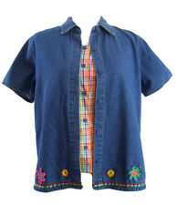 Lemon Grass Womens Denim & Checks Two For One Cute Top Blouse Small