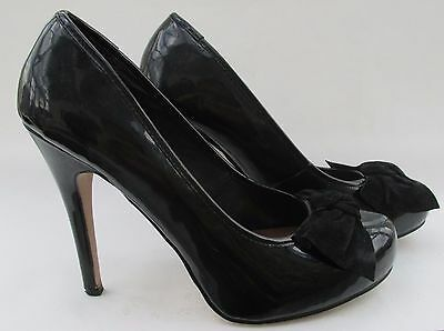 61b2610bf4af Moda in Pelle size 6 (39) black patent court heels with suede bows ...