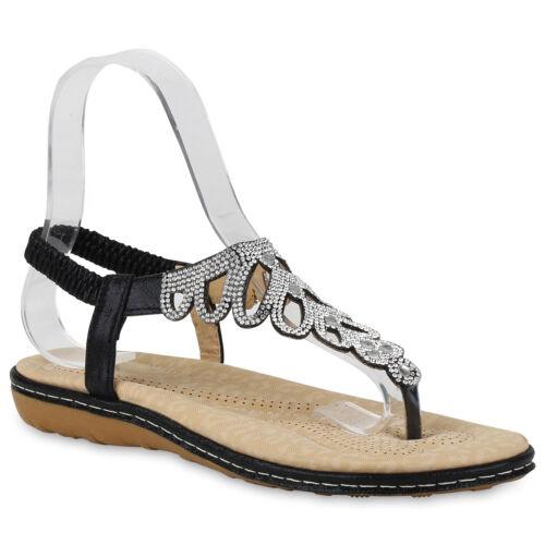 Damen Sandalen Zehentrenner Flats Sommer Schuhe Cut Outs 821536 Trendy Neu