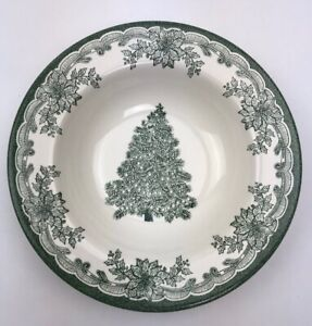 Staffordshire-Engravings-Green-Yuletide-8-5-034-Cereal-Bowl-Christmas-Tree-Holly