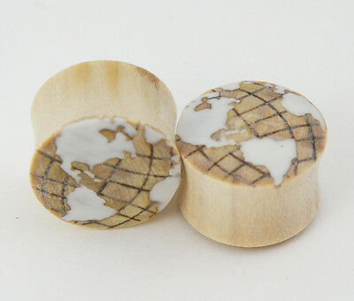 Pair Crocodile Wood w/ White Inlay Globe World Earth Ear Plugs Gauges Hand Made