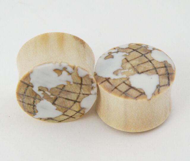 Pair Crocodile Wood w/ White Inlay Globe World Earth Ear Plugs Gauges Hand Made