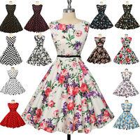 UK Ladies 1960s 1950's Style Vintage Polka Dot Jive Swing Pinup Party Tea Dress