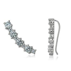 Sterling-Silver-Round-Cubic-Zirconia-Curved-Crawler-Climber-Hook-Earrings
