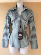 Ben Sherman Ladies Shirt Blouse Blue Grey Stripes