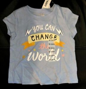 Old-Navy-Baby-Kid-039-s-Blue-Short-Sleeve-034-You-can-change-World-034-Shirt-Sz-18-24-Mo