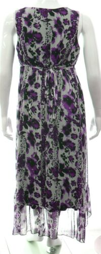 Womens Plus Size Chiffon Lined Dipped Hem V-neck Dress Purple Black White Print
