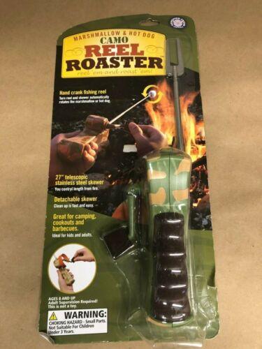 NIB Marshmallow /& Hot Dog Camo Reel Roaster Hand Crank Fishing Reel Camping