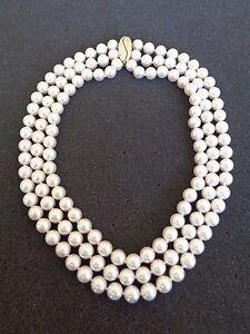 $20,000 Triple Strand Akoya Pearls Pearl Necklace w/ 14K Gold & Diamond Clasp