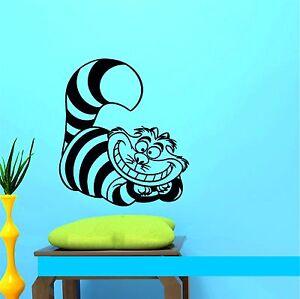 Alice in Wonderland Cheshire Cat Cartoon Kids Vinyl Sticker Decal Wall *SIZES*