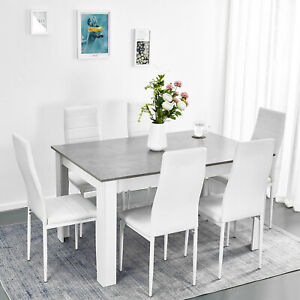 Venta White Dining Table 6 Chairs, Dining Room Table With 6 Chairs White