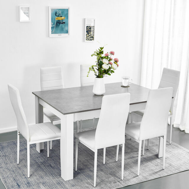 Wooden Dining Table Set 6 Faux Leather, Black Dining Table Chairs Set Of 6