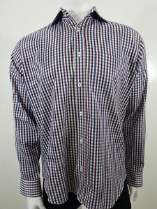 Bugatchi-Uomo-Shirt-Mens-Large-XL-Blue-White-Plaid-Check-Classic-Fit-Long-Sleeve