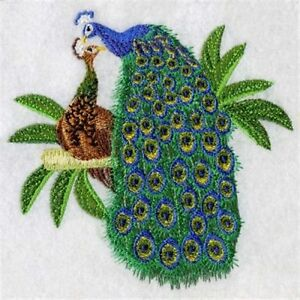 Details about peacock pair embroidered set 2 bathroom hand towel by