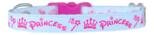 white & cerise pink princess chihuahua dog puppy collar available 3 sizes