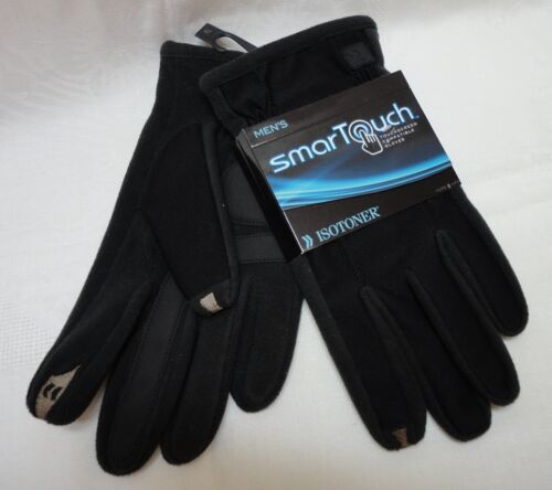 ISOTONER men A700S1BLK SmarTouch Touchscreen Compatible Black gloves L NEW