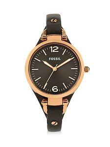 Fossil damen armbanduhr analog quarz leder es3077