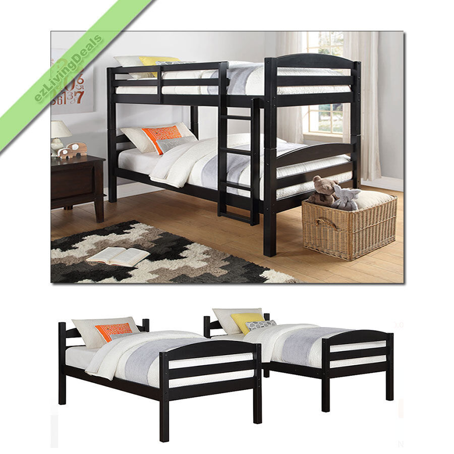Twin Over Twin Bunk Bed Wood Convertible Bunkbed Beds for ...