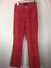 Guess Sz 24  Red Snakeskin Print Mid Rise Stretch Boot Cut Jeans. EUC