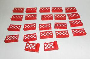 Lego 8 x Zaun Gitter Gartenzaun 3185  rot  1x4x2