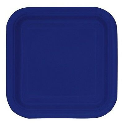 """16 x 7"""" SQUARE Paper PLATES (17cm) Plain Solid Colours Birthday Party Tableware"""