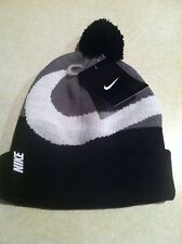 471aa931679 item 2 NWT Nike Beanie Winter Pom Hat Youth Boy s Black Gray White Swoosh  Size 8-20 -NWT Nike Beanie Winter Pom Hat Youth Boy s Black Gray White Swoosh  Size ...