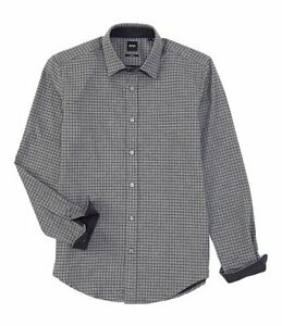Hugo Boss Men/'s BOSS Slim Fit Rikard Plaid Long Sleeve Woven Shirt White Red