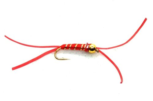 Goldhead APPS BLOODWORM Flies 3 Pack Gold Ribbed Trout Fly Fishing Size 10,12,14