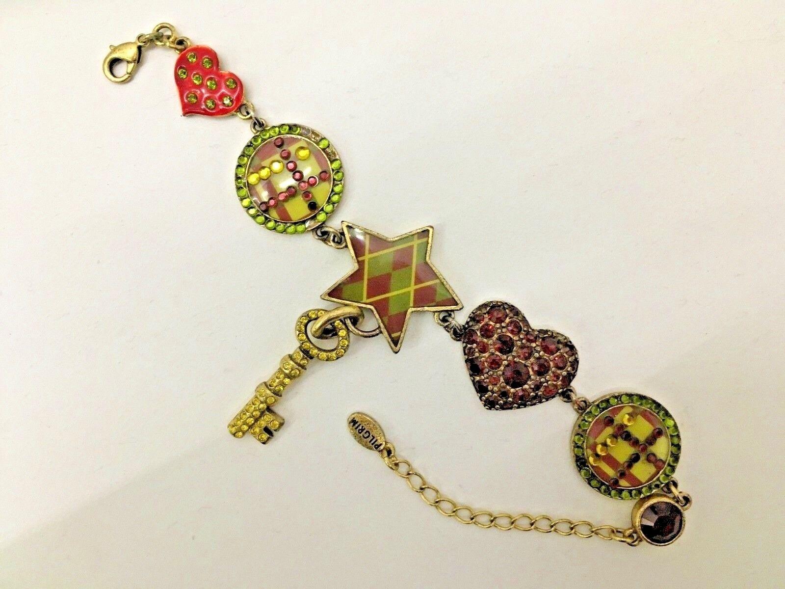 PILGRIM  Danish Design Charm Bracelet, with Ruby, Lime & citron crystals. Used.