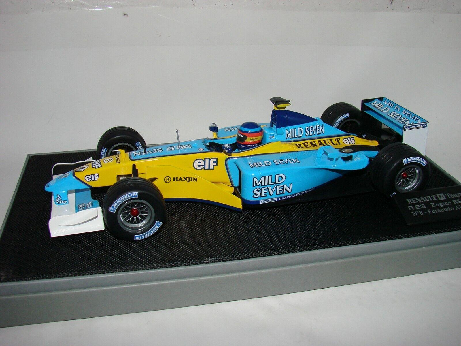 1 18 Fernando Alonso F1 - 2003, Renault F1 Caja R23 RS23 con Tabak, menta en caja, Raro