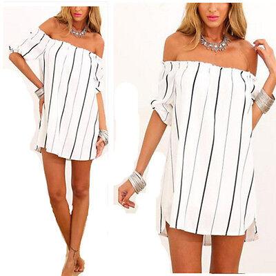 Boho Women Striped Off-Shoulder Summer Beach Top Shirt Blouse Tunic Dress 8-16