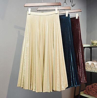 2016 Women Long Skirt High Waist Pleated Maxi Beach Skirt All Match Party Casual
