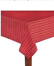 Red Striped Table Cloth  60x84 Christmas Fabric Wreath Swag Pick Primitive Coun