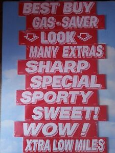$ CAR DEALER 10 dozen NEW WINDOW ADVERTISE SLOGANS STICKERS 10K-4 red/white