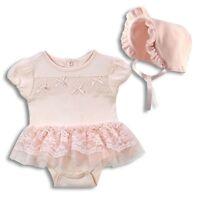 Harry & Violet Baby Girl Dress 0-3 3-6 6-9 Mths 2 Pc Bodysuit & Bonnet Set