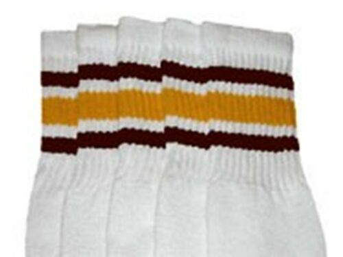 "22"" KNEE HIGH WHITE tube socks with DARK BROWN//GOLD stripes style 3 22-23"