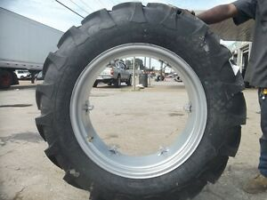 TWO-12-4x28-12-4-28-8-Ply-INTERNATIONAL-B275-Tractor-Tires-on-6-Loop-Wheels