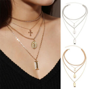 Multilayer-Statement-Bib-Pendant-Women-Clavicle-Choker-Necklace-Chain-Jewelry-JB