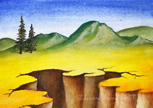 aceo aceo art mountain illustration mountain art mountain painting original aceo abstract mountain