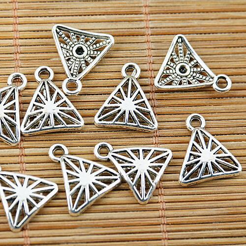 32pcs tibetan silver tone triangle shaped charms EF1536