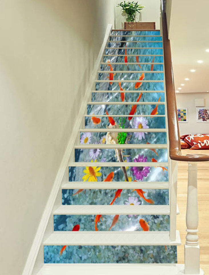 3D Fishes Flowers 2 Stair Risers Decoration Photo Mural Vinyl Decal Wallpaper AU