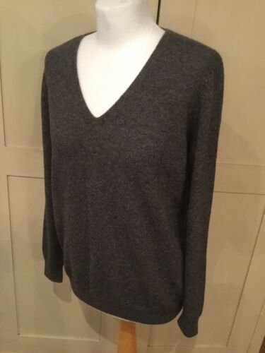 New Sweater Jumper Cashmere Charcoal Knit Pullover L Jaeger Grey Wool Bnwt q81Zwdq