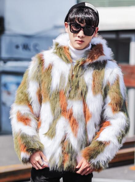 Da Uomo con Cappuccio pelliccia Slim inverno pelliccia Cappuccio Felpa con cappuccio foderato in pile giacca calda Outwear Cappotto 56258e