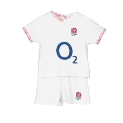 England RFU Rugby Bébé//Bambin T-Shirt /& Short SetBlanc2019//20