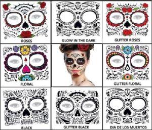 Day Of The Dead Skull Halloween Face Temporary Tattoos 8 Designs